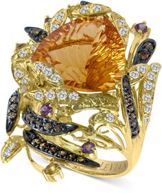 Le Vian Citrine (9-1/10 ct. White Topaz (1/2 ct. Chocolate #Diamond (2/5 ct. t.w.) and Garnet (1/5 ct. t.w.) Ring in 14k Gold