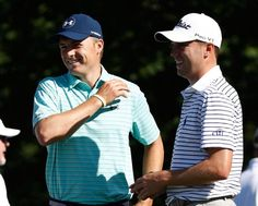 Jordan Spieth talks to Justin Thomas on the tee on the 15th hole during the first round of the Memorial Tournament at Muirfield Village Golf Club on June 1, 2017 in Dublin, Ohio.
