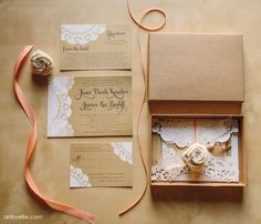 custom-boxed-wedding-invitation-peach-kraft-brown-lace-ribbon