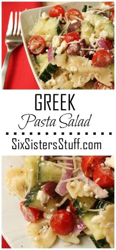 Greek Pasta Salad is so easy and a delicious side salad. SixSistersStuff.com