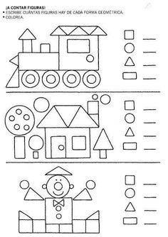 Coloring Page Home 2019 crafts worksheets coloringpage printable craftsforkids kindergarten preschool Kindergarten Math Worksheets, Preschool Learning, Teaching Math, Preschool Activities, Geometry Activities, Spanish Activities, Shapes Worksheets, Worksheets For Kids, 1st Grade Math