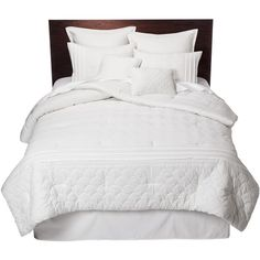 Colette 8 Piece Bedding Comforter Set White ($8.99) ❤ liked on Polyvore featuring home, bed & bath, bedding, bed, 8 piece bedding set, white embroidered bedding, white bedding, embroidered bedding sets and stitch bedding
