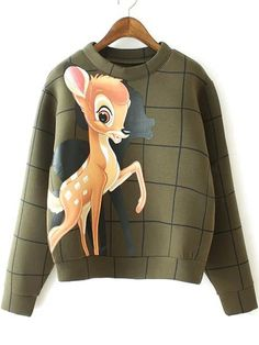 Green Round Neck Deer Print Crop Sweatshirt, High Quality Guarantee with Low Price!