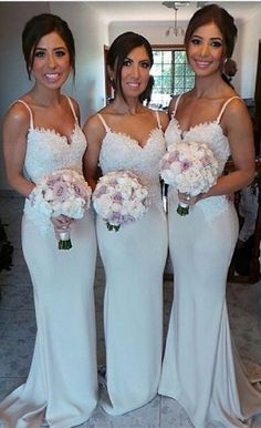 White Sexy Charming Bridesmaid Dresses Spaghetti Strap Lace Glorious 2015 Wedding Party Gowns ,Dress for Wedding Dress,Wedding Party Dress,Prom Dress Long.Party Dress lace