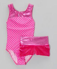 Loving this Pink Polka Dot Foil Leotard & Velvet Shorts - Toddler & Girls on #zulily! #zulilyfinds