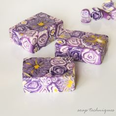 cold-process Soap Canes - purple soap flowers, by SoapTechniques
