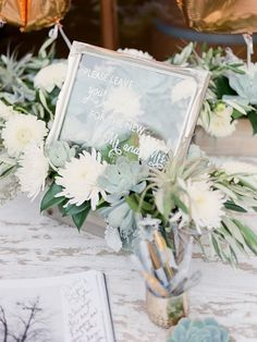 Silver detailed frame with glass, hand painted as guest book guest book sign.  Wedding was featured in 100 Layer Cake, March 2017.