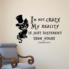 Alice In Wonderland Wall Sticker Cheshire Cat Quotes Vinyl Decals Room Wall Art Decoration DIY Home Decor