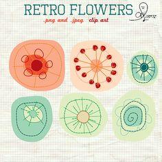 retro flower doodles