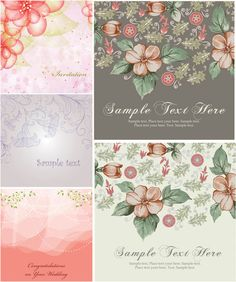 Vintage flower cards vector. Set of 5 beautiful vintage vector flower cards with decorative flowers on the background and place for your text. Can be used for your spring related cards, postcards, posters, etc. Format: EPS stock vector clip art.…