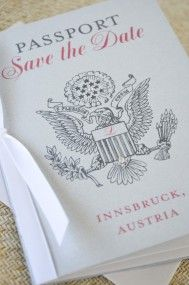 Silver and Coral US Seal Passport Save the Date (Austria) - destination wedding save the date