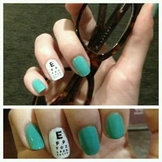 Nail art for a groovy optician or OD. This is so darling. Medical Gifts, Eye Chart, Cute Eyes, Jamberry Nails, Optician, Mani Pedi, Love Nails, Christmas Nails, Beauty Nails