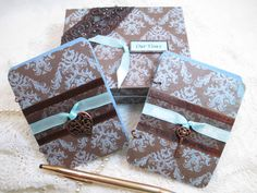 Wedding Vow Book Set  Brown and Blue Damask by TheMemoryKeeperShop