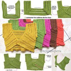 Crochet vest pattern, video tutoria (Spanish)l: boleros mariposa, in 5 adult sizes, by Esperanza & Ana Celia Rosas on tjiendoperu.com. Pub. date unknown; Pinned 24 Jul 2016.