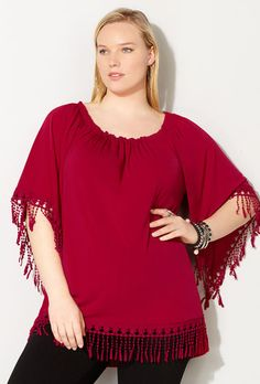 SOLID CROCHET TRIM PONCHO, Red