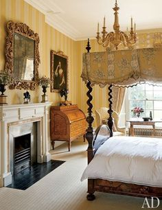 The German Bedroom at Easton Neston, a historic estate in Northamptonshire, England, owned by fashion designer Leon Max, is named after the origins of its furnishings. The marquetry bed is dressed with mustard-yellow Marvic hangings. Beautiful Bedrooms, Beautiful Interiors, Romantic Bedrooms, Discount Bedroom Furniture, English Decor, English House, Traditional Bedroom, Traditional Homes, Traditional Kitchens