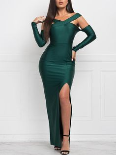 Shop Solid Crisscross Bandage Slit Evening Dress right now, get great deals at Chiquedoll Cheap Dresses, Casual Dresses, Fishtail Maxi Dress, Cocktail Bridesmaid Dresses, Freakum Dress, Evening Dresses, Summer Dresses, Outfit Trends, Black Bodycon Dress