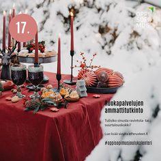 Oppisopimuksen joulukalenteri esittelee 24 mielenkiintoista tutkintoa ja niiden osaamisalaa joihin voi opiskella oppisopimuksella. Hyvää joulun odotusta! #oppisopimusjoulukalenteri #oppisopimus #tutkinto Table Decorations, Furniture, Home Decor, Homemade Home Decor, Home Furnishings, Decoration Home, Arredamento, Dinner Table Decorations, Interior Decorating