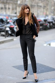 Caroline de Maigret in a shearling-lined jacket.  #Streetstyle Paris Fashion Week Fall 2014 #PFW