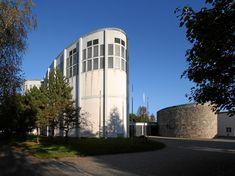 St. Theresia Church   Linz, Austria . 1959-1962   Architect: Rudolf Schwarz Sacred Architecture, Architecture Design, Austria, Strasbourg, Skyscraper, Multi Story Building, Art Deco, Mid Century, World