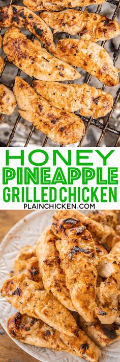 SO simple and packed full of amazing flavor! Only 3 ingredients in the marinade - Italian dressing, honey and pineapple juice. Can use chicken tenders, breasts or thighs. We always double the recipe for Turkey Recipes, Meat Recipes, Real Food Recipes, Dinner Recipes, Cooking Recipes, Dinner Ideas, Yummy Recipes, Bbq, Grilled Chicken Recipes