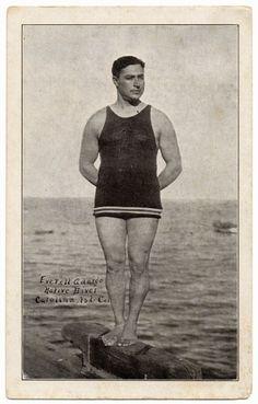 vintage bathing suits for men   1920s Vintage Postcard Everett Ardargo - Men's Vintage Bathing Suit