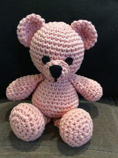 Baby pink Crochet Teddy Bear. Tutorial from Sharon Ojala at Amigurumi to Go.