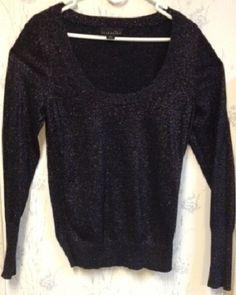 Women's Long Sleeve Black Sparkle Scoop Neck Top Size Large Lg #KathieLee…