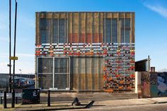 Built by LYN Atelier in London, United Kingdom with date Images by Jill Tate. Hub 67 is a community centre in Hackney Wick, constructed with recycled material from the London 2012 Olympic and Par.