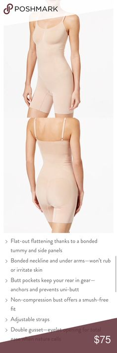 93b67898f NWT Spanx Oncore Mid Thigh Bodysuit in Soft Nude One day sale! This is a  powerful slimming bodysuit to smooth and lift! I have this bodysuit in L  and Both ...