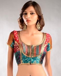 Multicolored Brocade Blouse with Gota