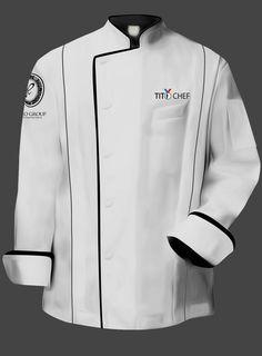 Tito Chef Jacket - White dat is wat ze een executive jack noemen - Meg Cafe Uniform, Hotel Uniform, Chef Dress, Chef Shirts, Corporate Uniforms, African Clothing For Men, Work Uniforms, Uniform Design, Work Attire