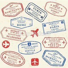 Passport stamp set — Grafika wektorowa © tupungato #34848085
