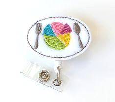 Dietician Gift - Portion Plate Name Badge Holder - Cute Badge Reel - Retractable Badge Clip - Felt Badge Pull - Food Pyramid - BadgeBlooms