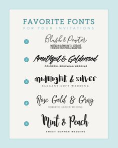 New post on The Budget Savvy Bride: Five Font Pairings to Match Your Wedding Style Fancy Fonts, Cool Fonts, New Fonts, Wedding Invitation Fonts, Wedding Fonts, Wedding 2017, Diy Wedding, Wedding Ideas, Invitations