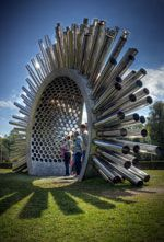 The Aeolus Acoustic Wind Pavilion creates music when the wind blows with acoustics and aerodynamics!