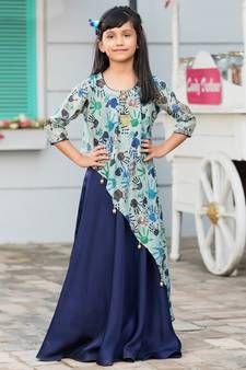 896fc2aa34c7b Buy Sky Blue Multicolor Poly Rayon Digital Print With Mastani Silk Birthday  Special Gown For Girls Kids Wear kids-girl-gown online from Mirraw