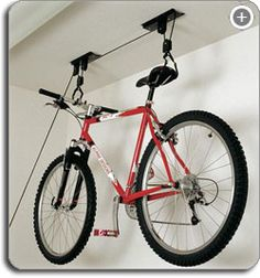 The best way to store bicycles - pulleys help lift it to the ceiling helping you gain more garage floor space! Esp if you have multiple bikes. $18.47