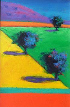 'Yellow Field, Purple Hill' by Paul Powis