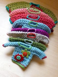 Crocheted sweater ornies
