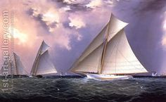 Mischief and Gracie America's Cup Trial Race, 1881 by James E. Buttersworth
