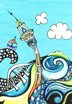 Auckland City by Robyn Lamont, New Zealand Artist