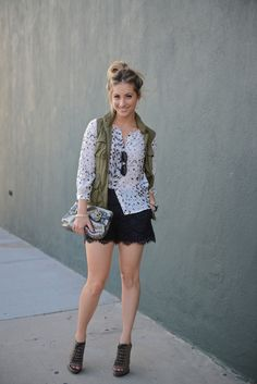 f3e333a0997 like the casual/dressy combo of lace shorts with a military vest Army Vest,