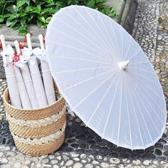 "Bamboo Parasol Plain Fabric Umbrella Cute Wedding with Ribbon 33"" White"