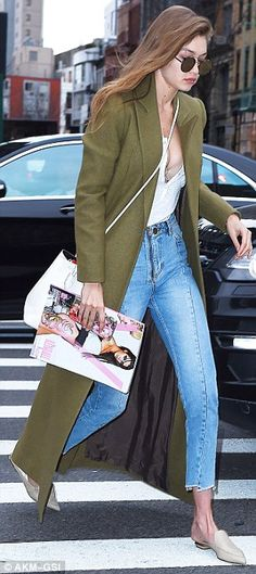Best foot forward: Gigi rounded off her wardrobe with a high-fashion staple - a pair of simple stone leather stilettos