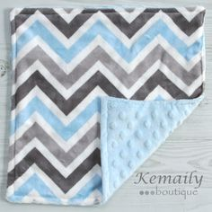 Grey Blue Multi Chevron Minky Baby Lovey 17x17 From by Kemaily, $17.99