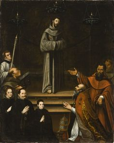 Saint Francis of Assisi Appearing before Pope Nicholas V, with Donors (La aparición de San Francisco de Asís al Papa Nicolás V, con donantes) | LACMA Collections