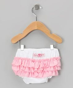 Take a look at this White & Pink Wave Ruffle Diaper Cover - Infant & Toddler by RuffleButts on #zulily today!
