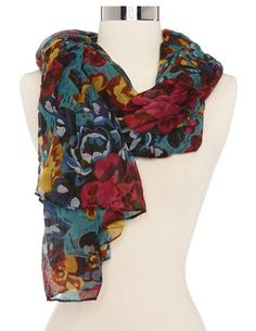 Jewel Tone Floral Woven Scarf