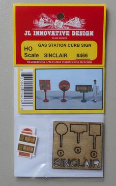SINCLAIR GAS STATION CURB SIGNS  HO 1:87 SCALE LAYOUT DIORAMA JL INNOVATIVE 466 #JLInnovativeDesigns